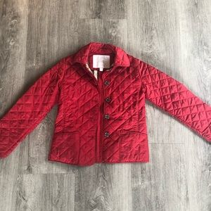 Girls Red Burberry coat size 8
